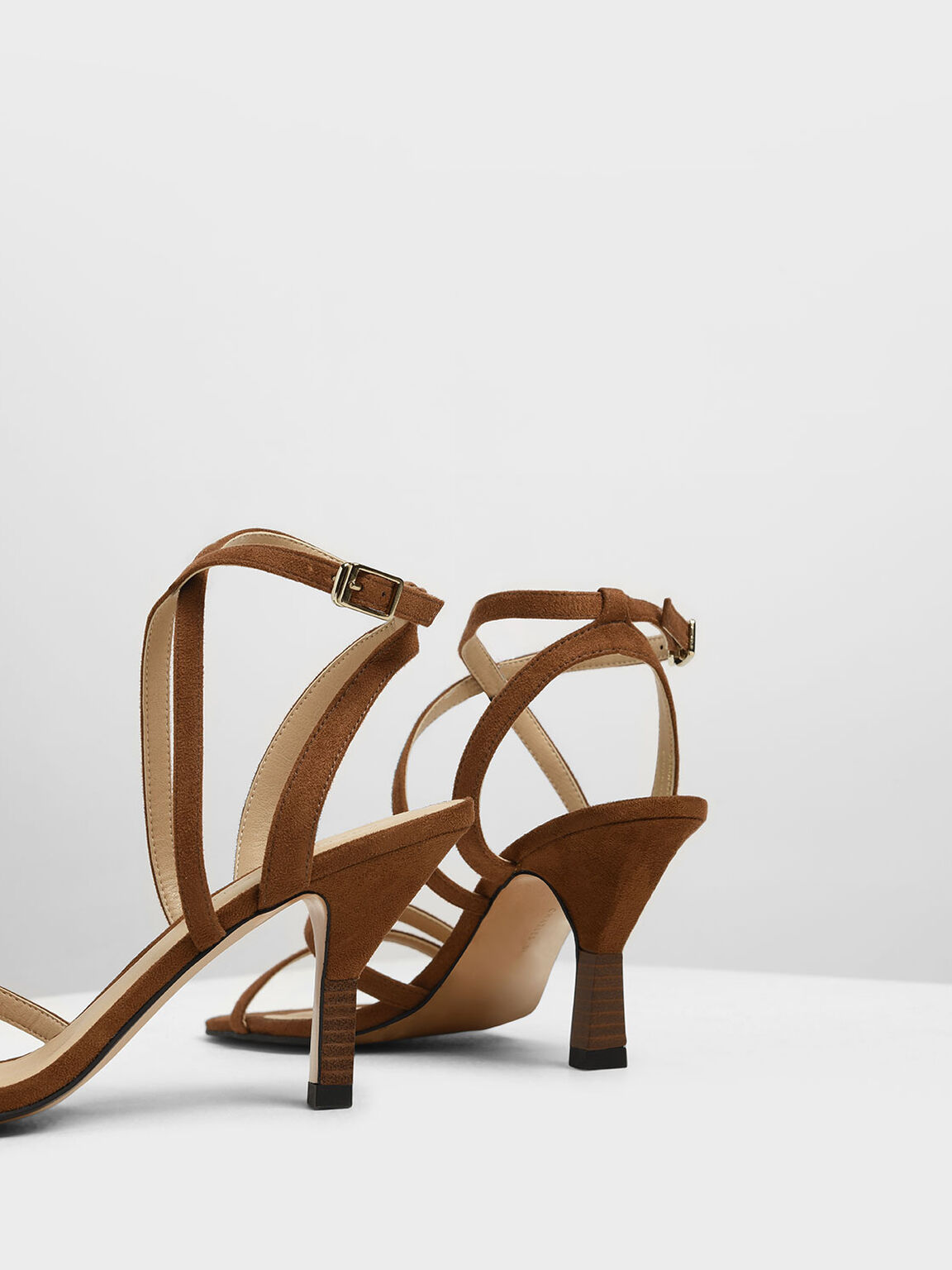 Strappy Blade Heel Sandals, Brown, hi-res