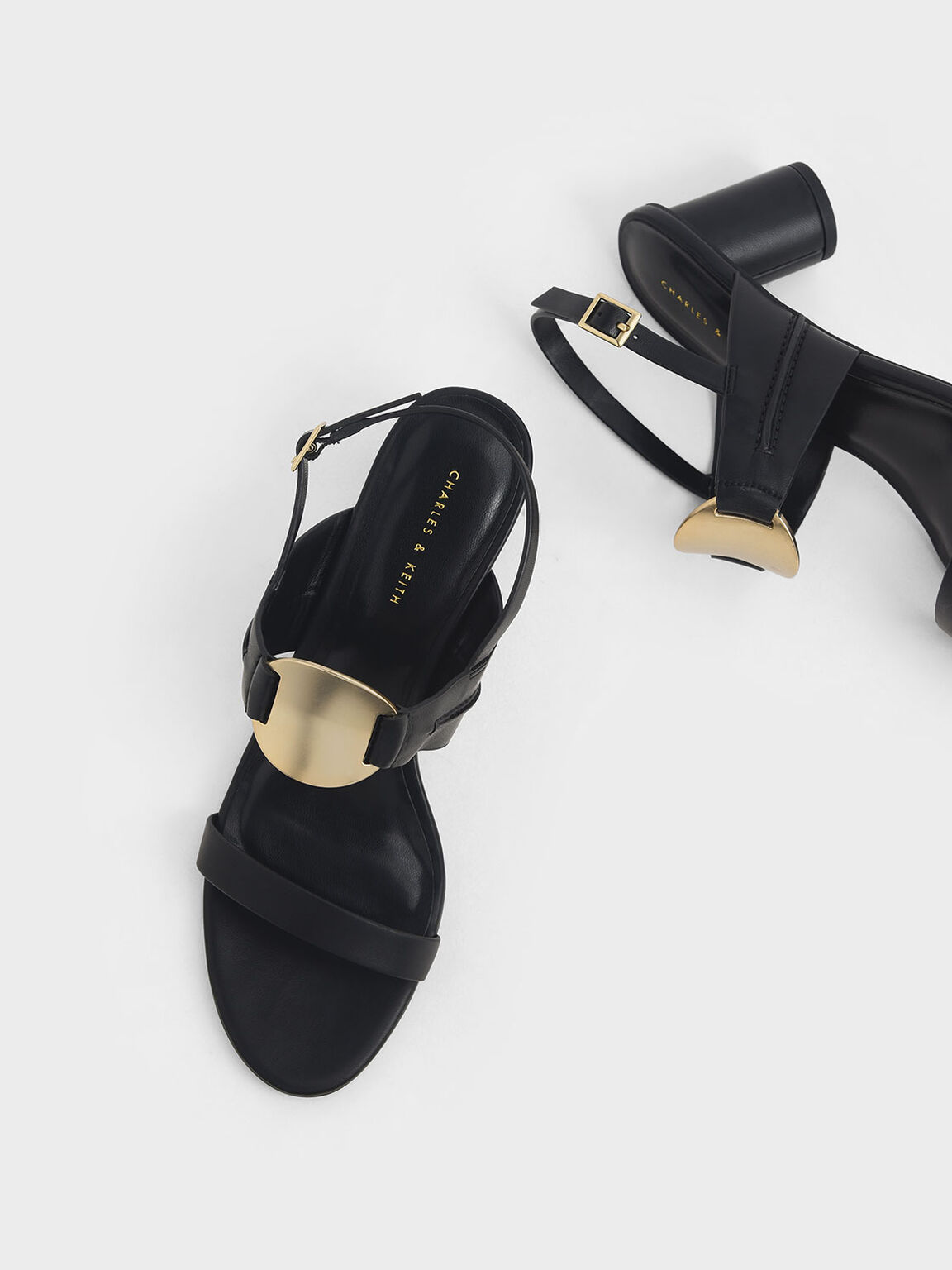 Metallic Accent Heeled Sandals, Black, hi-res