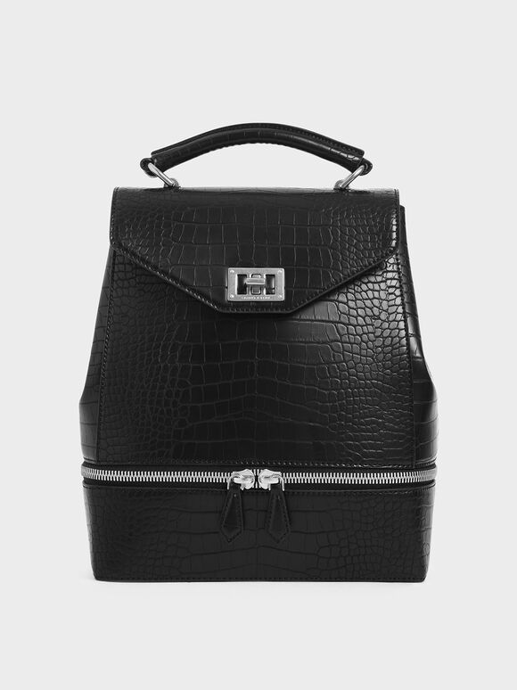Large Croc-Effect Two-Way Zip Backpack, Black Textured, hi-res