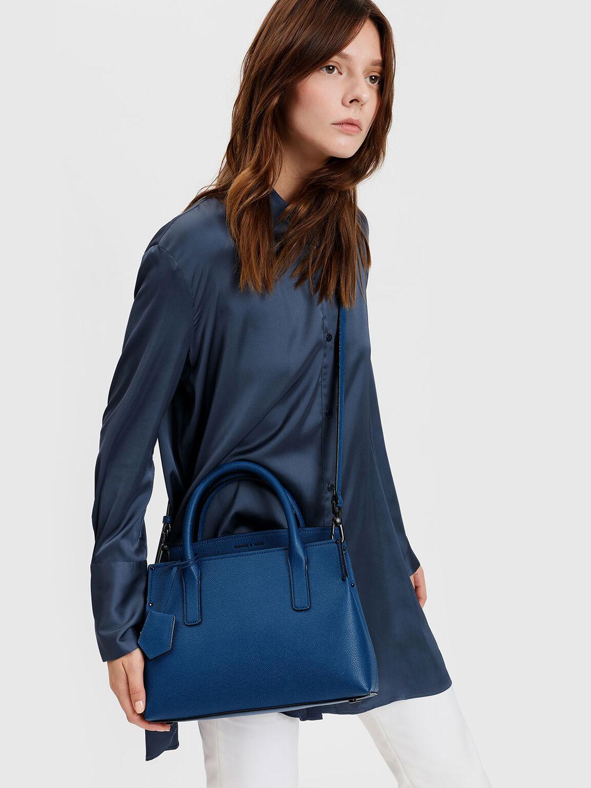 Structured Top Handle Bag, Blue, hi-res