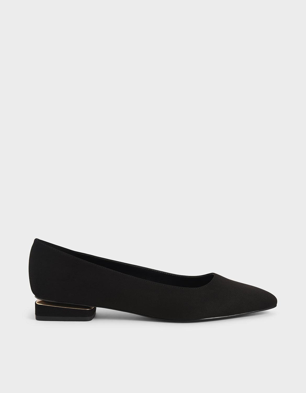 Black Textured Textured Ballerina Flats