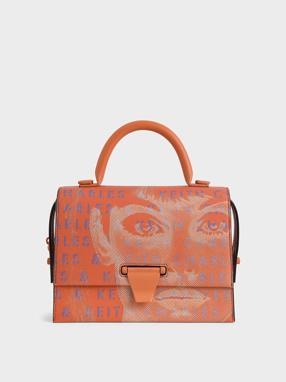 Graphic Printed Top Handle Bag, Orange, hi-res