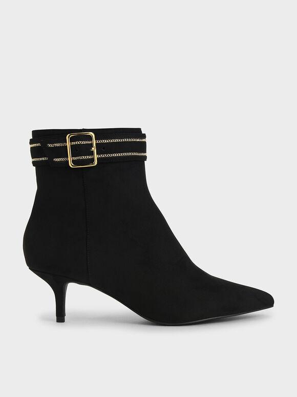 Textured Buckle Kitten Heel Boots, Black, hi-res