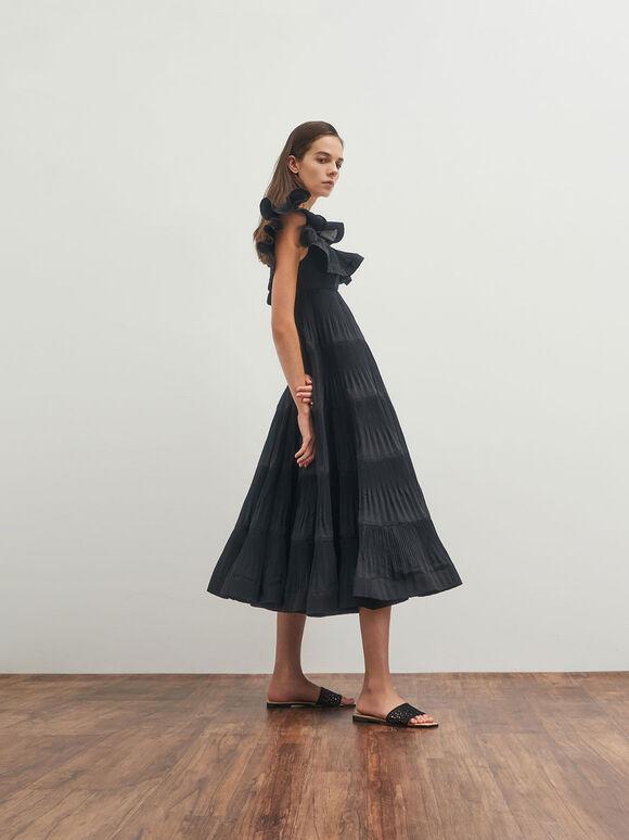 Asymmetric Toe Crochet Slides, Black, hi-res