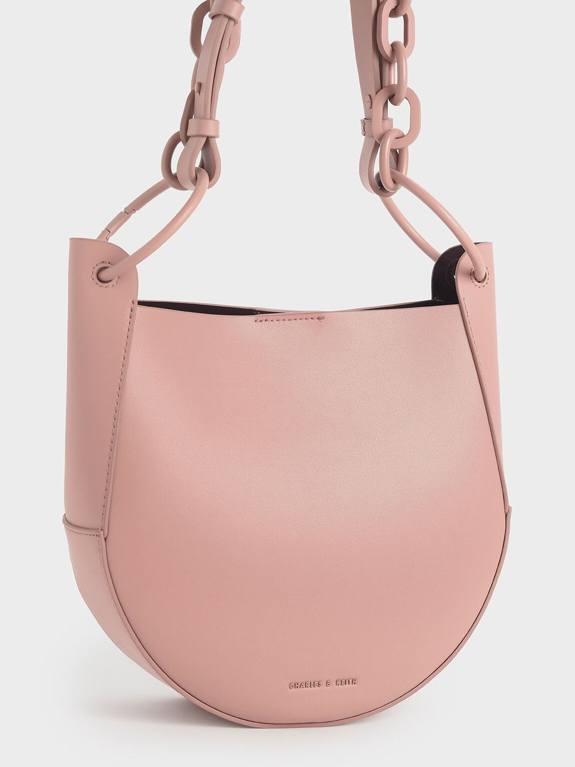 Chunky Chain Link Hobo Bag, Pink, hi-res