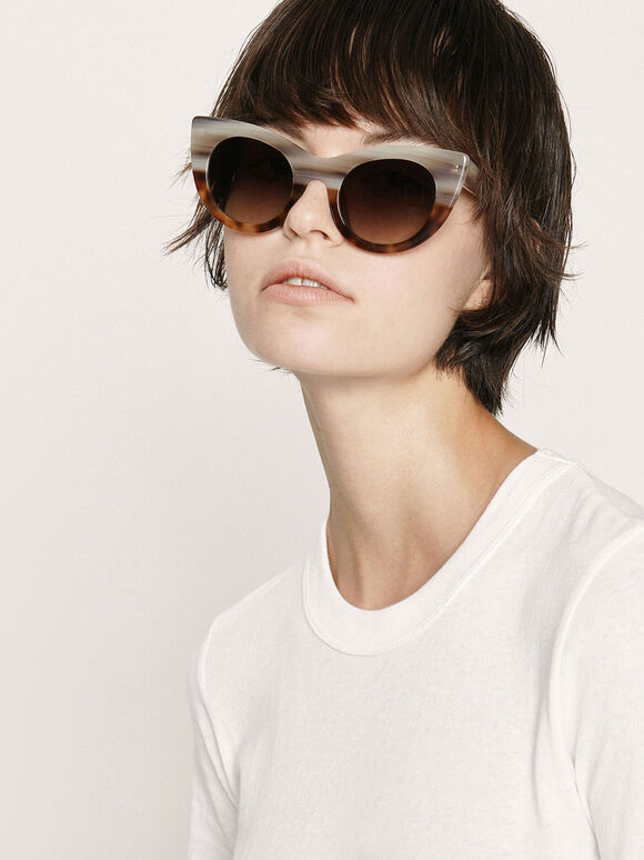 Tortoiseshell Thick Frame Cat-Eye Sunglasses, T. Shell, hi-res