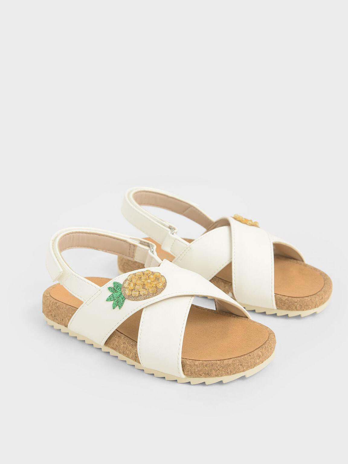 Girls' Embellished Criss-Cross Sandals, White, hi-res