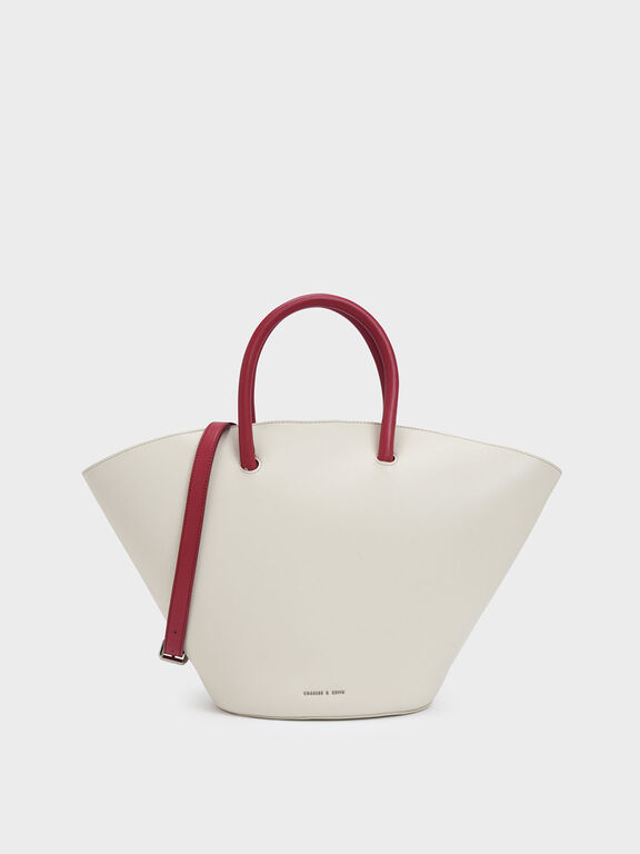Two-Tone Large Trapeze Tote, White