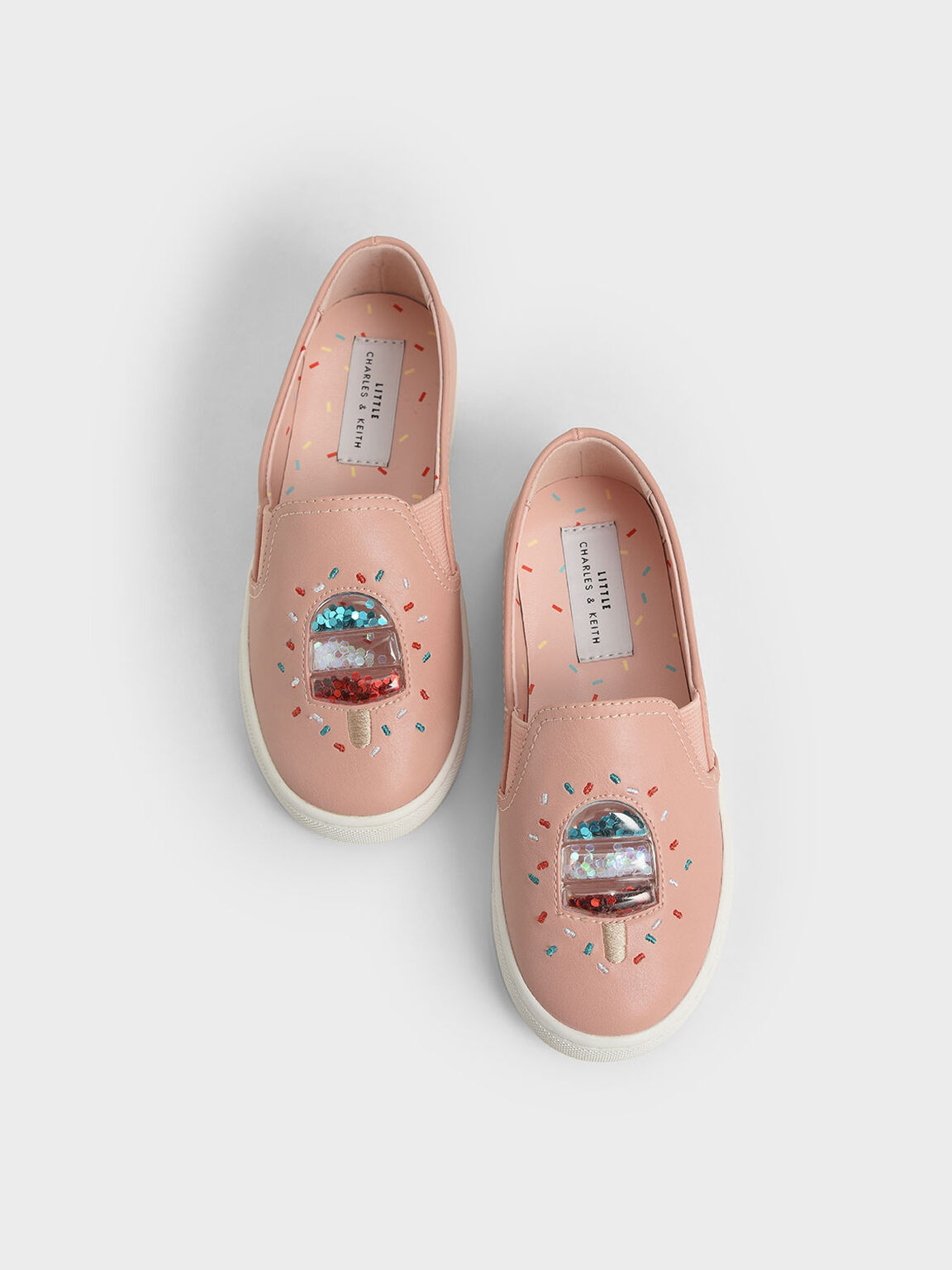 Girls' Rainbow Sprinkles Motif Sneakers, Pink, hi-res
