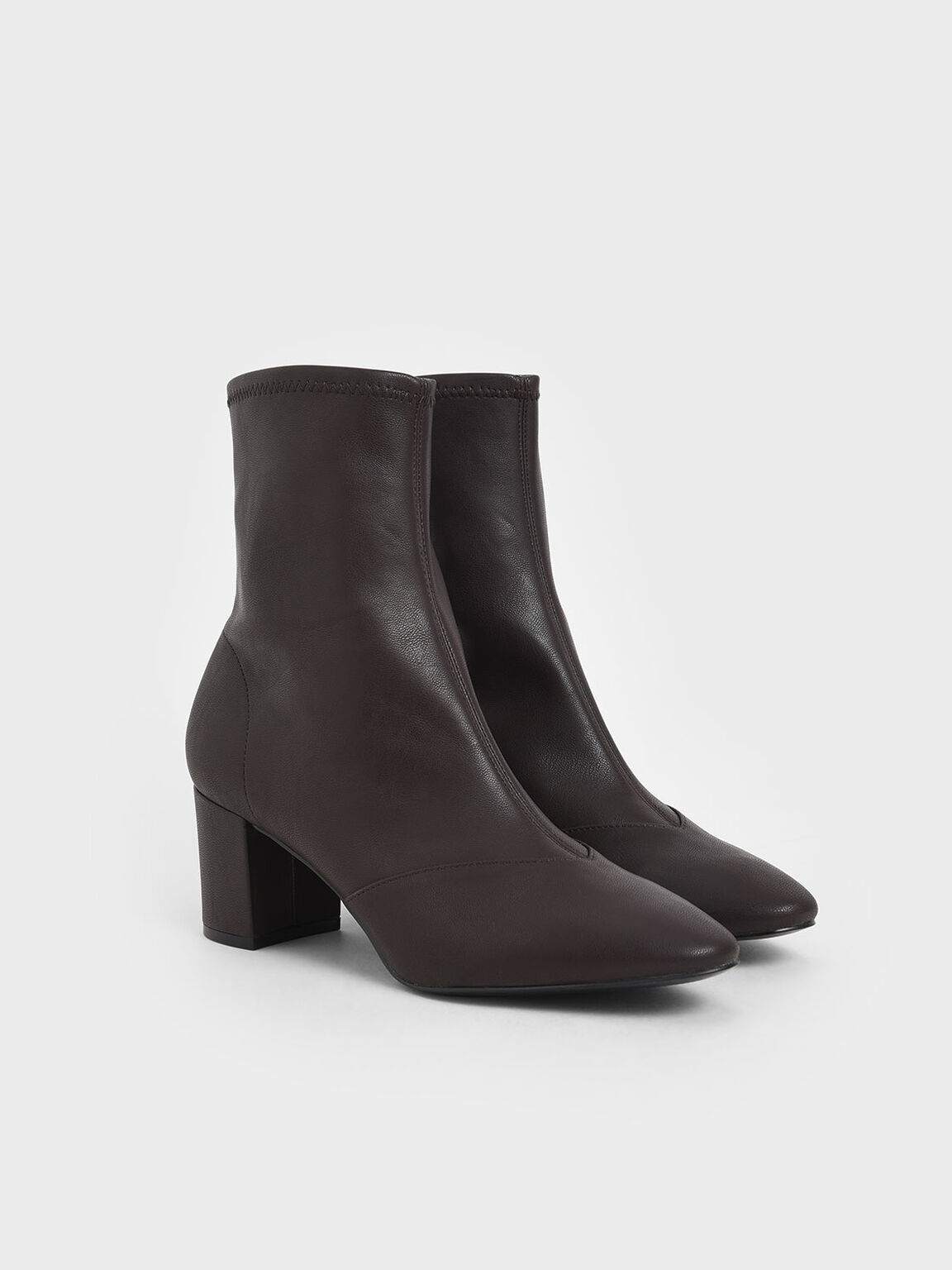 Block Heel Ankle Boots, Dark Brown, hi-res