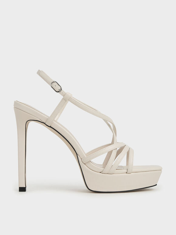 Strappy Platform Sandals, Chalk, hi-res
