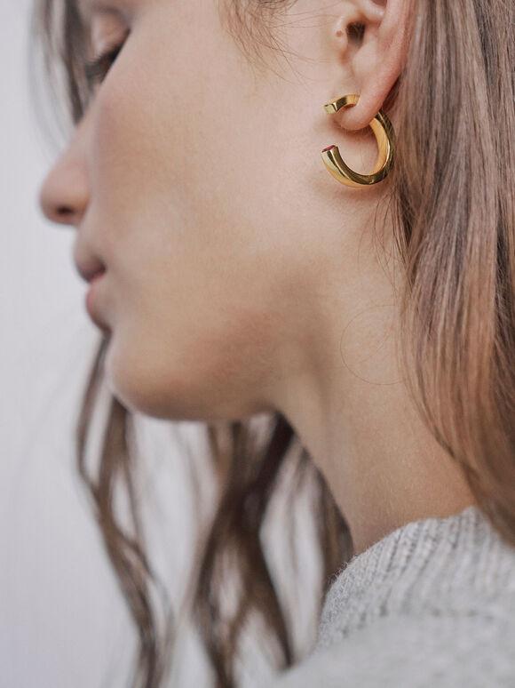 Swarovski® Crystal Hoop Earrings, Gold, hi-res