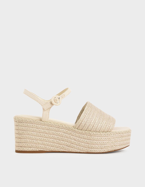 Cream Espadrille-Platform-Sandals