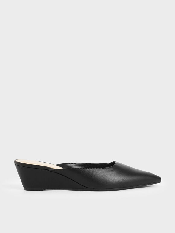 Patent Wedge Heel Mules, Black, hi-res