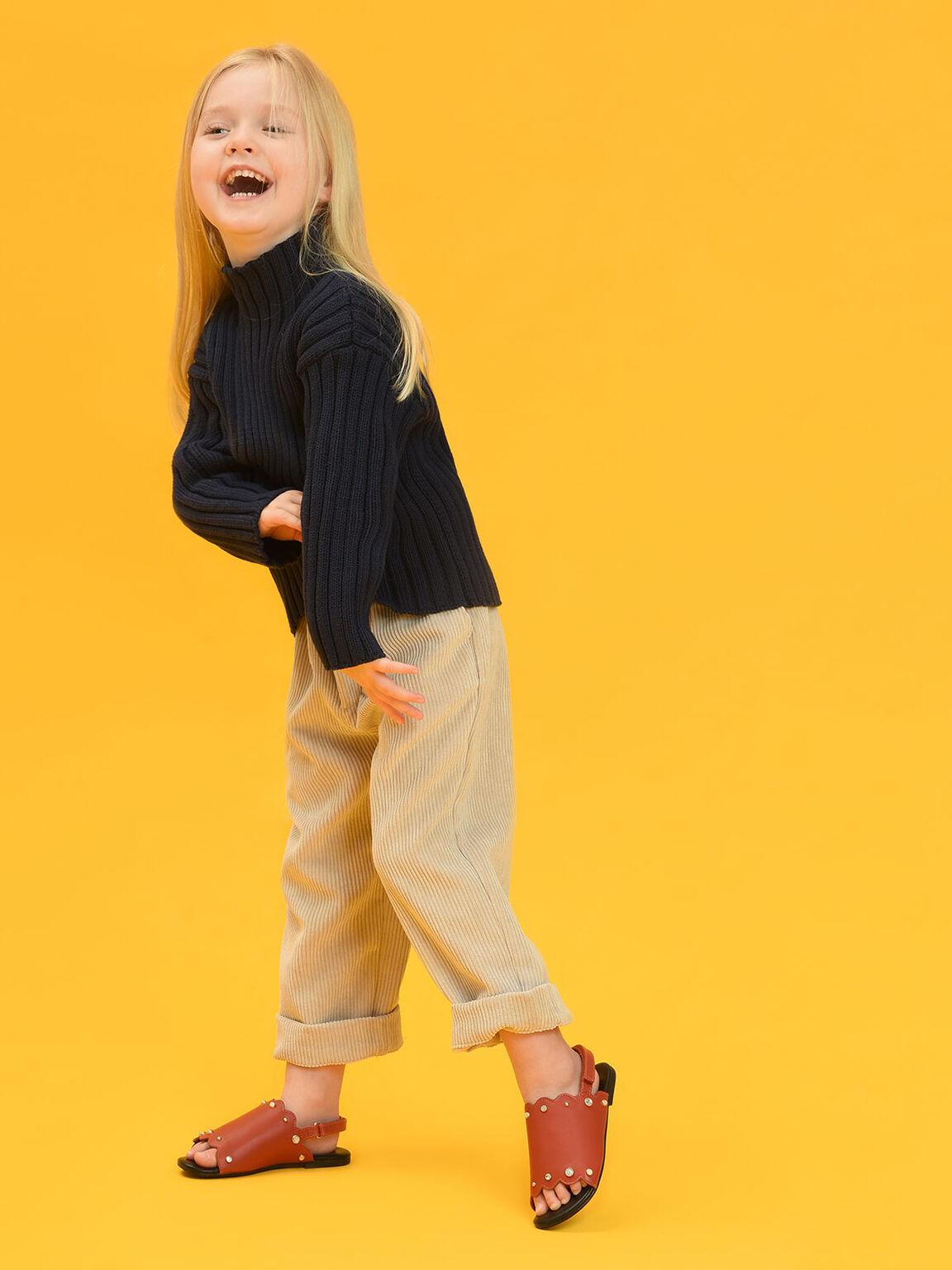 Kids Embellished Slingback Sandals, Orange, hi-res