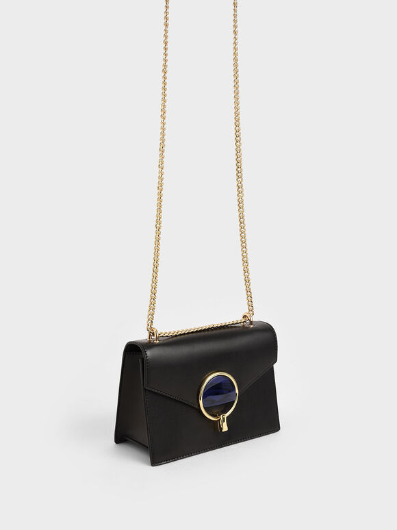 Stone-Embellished Shoulder Bag, Black, hi-res
