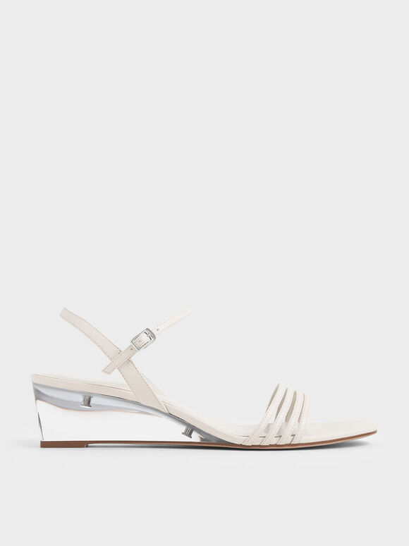 Ankle Strap Clear Wedges, Chalk, hi-res