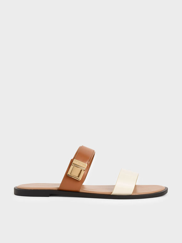 Buckle Double Strap Slide Sandals, Multi, hi-res