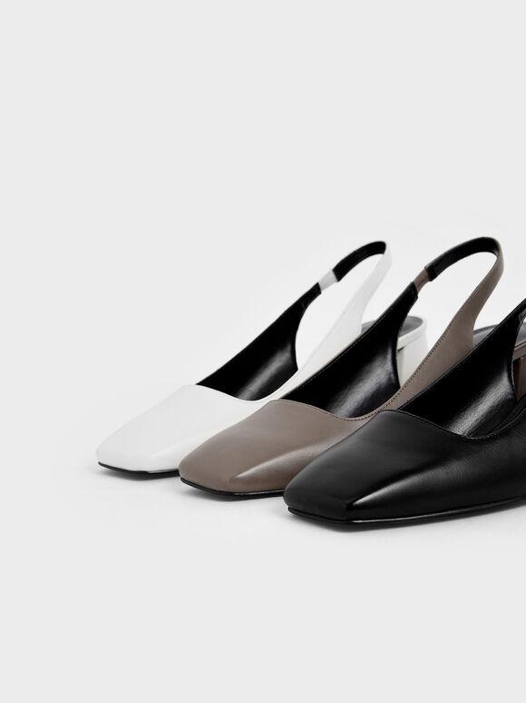 方頭繞踝跟鞋, 黑色, hi-res