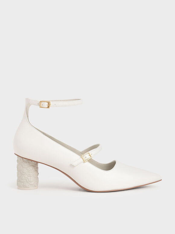 Embossed Heel Mary Jane Pumps, White, hi-res