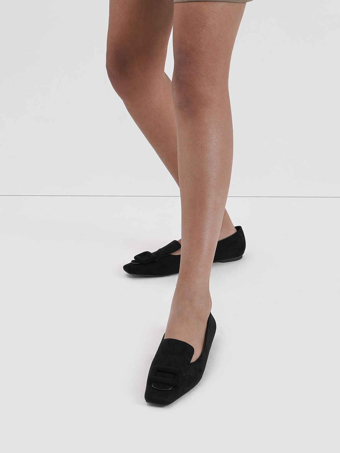 Oversized Buckle Textured Loafers, Black Textured, hi-res