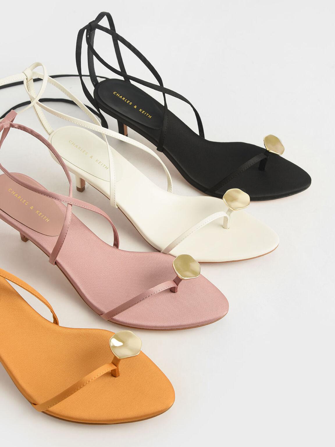 Metal Accent Sandals, Cream, hi-res