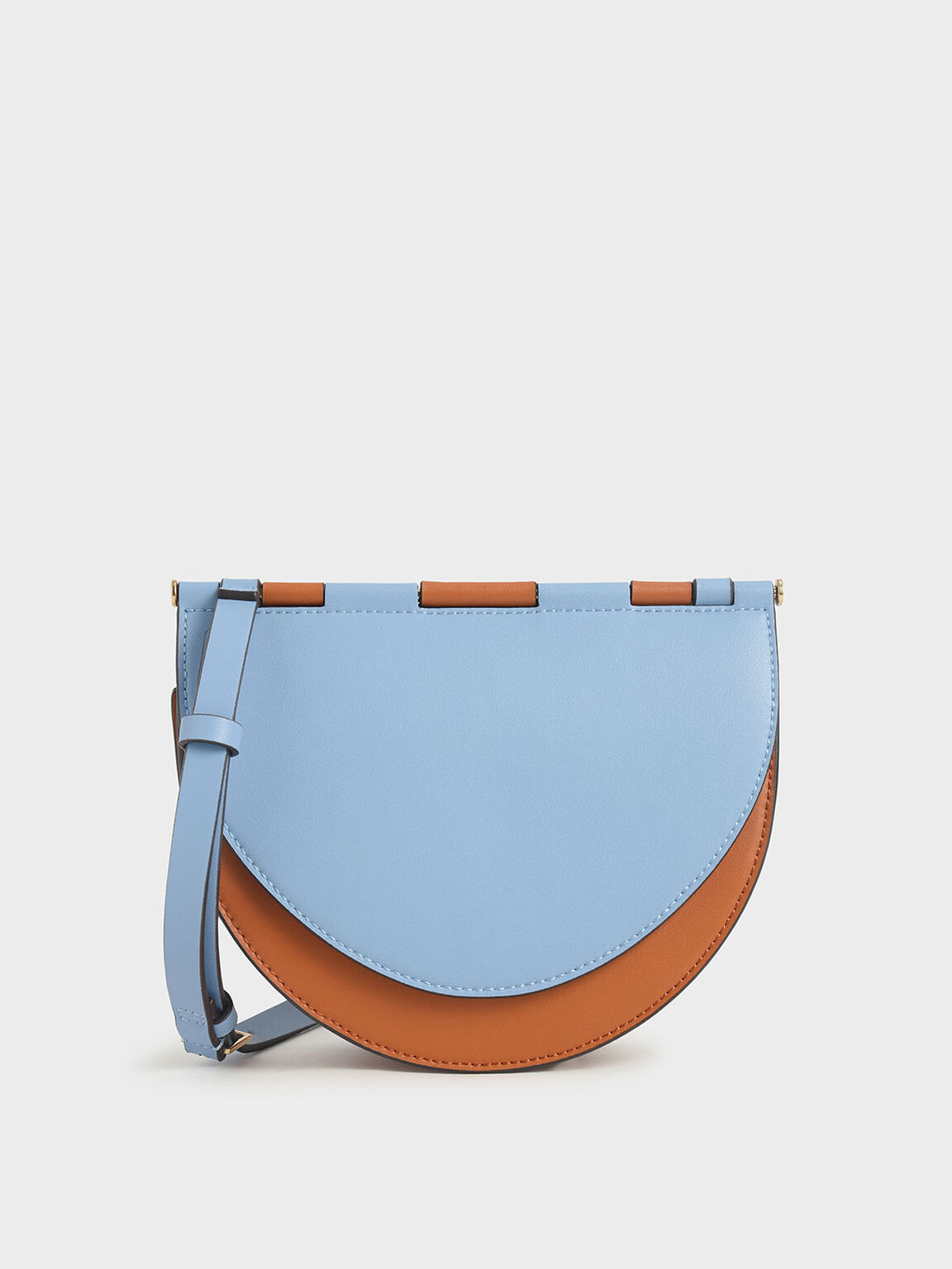 Two-Tone Semi-Circle Crossbody Bag, Denim Blue, hi-res