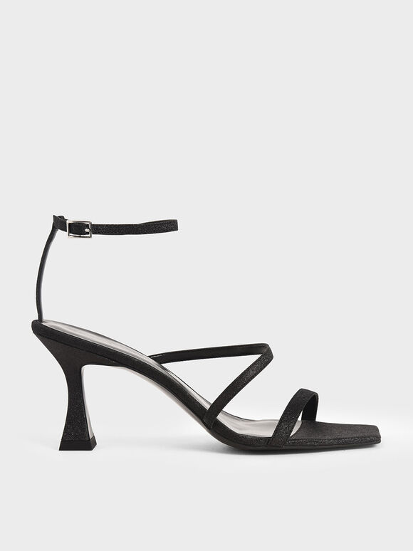 Glitter Sculptural Heel Sandals, Black, hi-res
