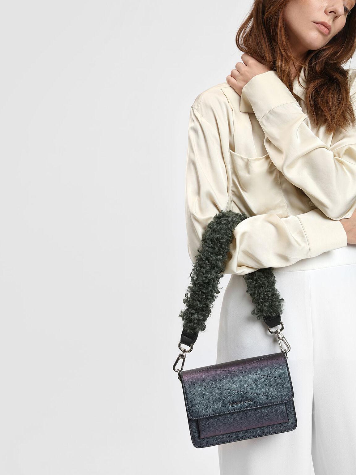 Furry Bag Strap, Dark Green, hi-res