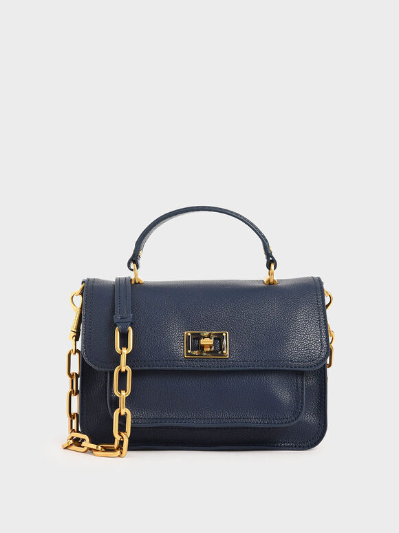 Resin-Effect Buckle Handbag, Dark Blue, hi-res