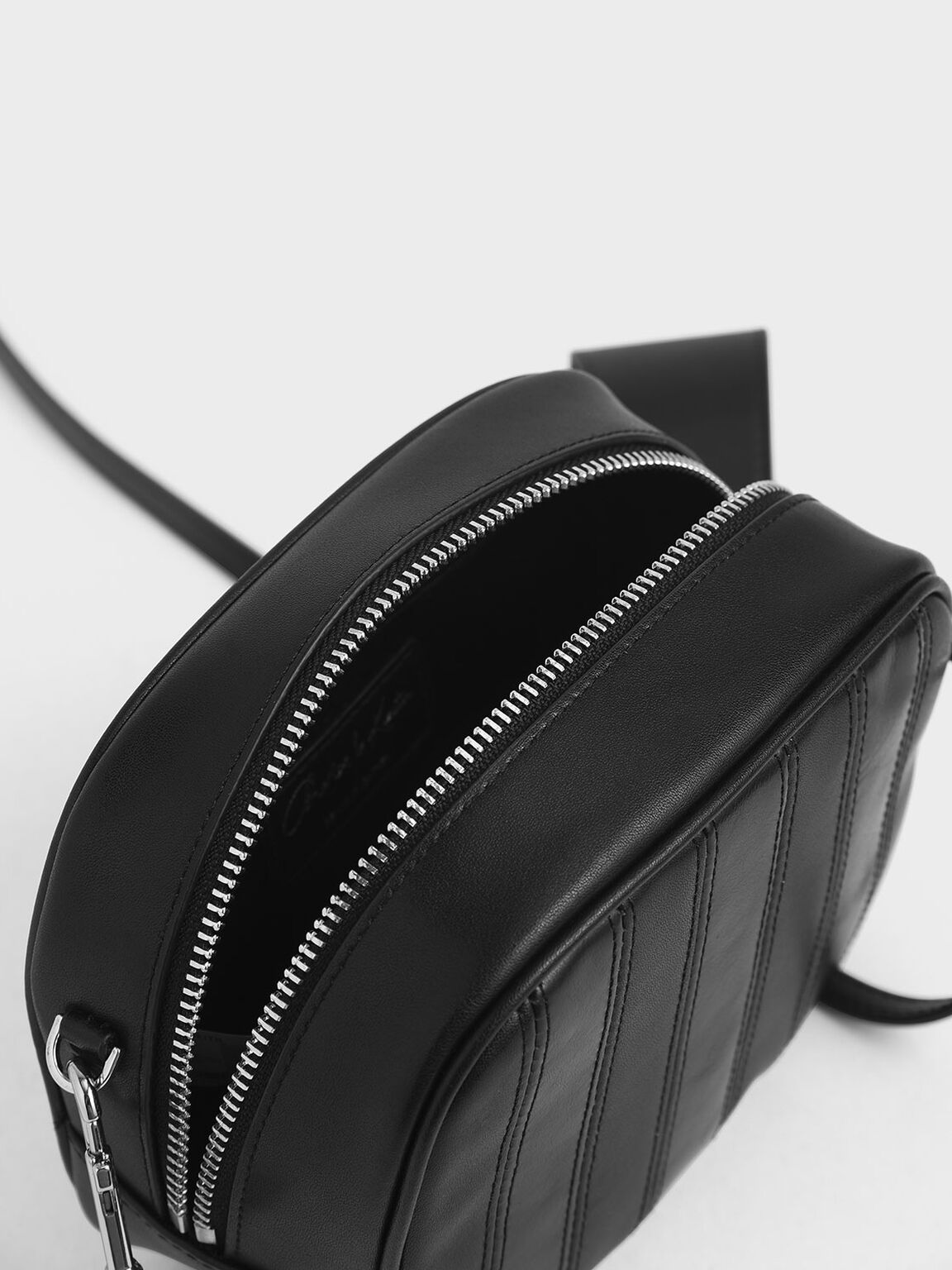 Leather Mini Crossbody Bag, Black, hi-res