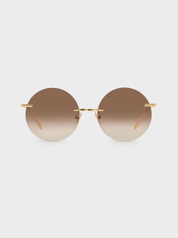 Round Rimless Sunglasses, Brown, hi-res