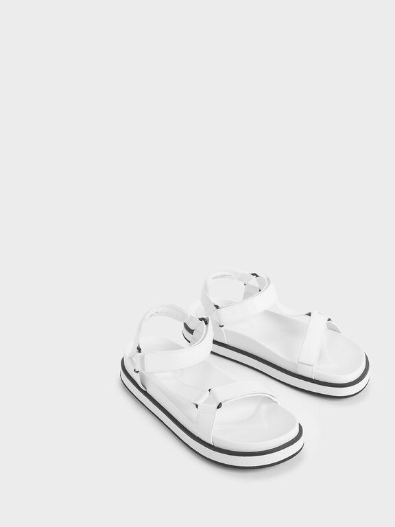 Two-Tone Lycra Strap Sandals, White, hi-res