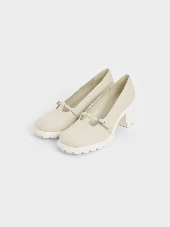 Canvas Chunky Mary Jane Pumps, Chalk, hi-res