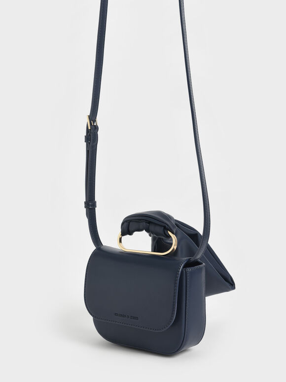Knotted Wristlet Bag, Navy, hi-res