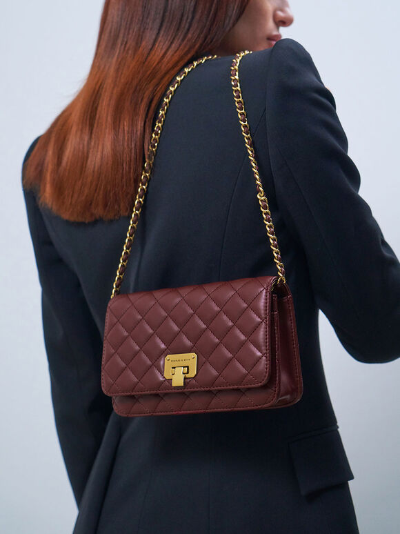 Quilted Flip-Lock Clutch, Burgundy, hi-res