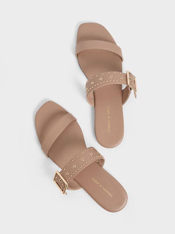 Studded Slide Sandals, Nude, hi-res
