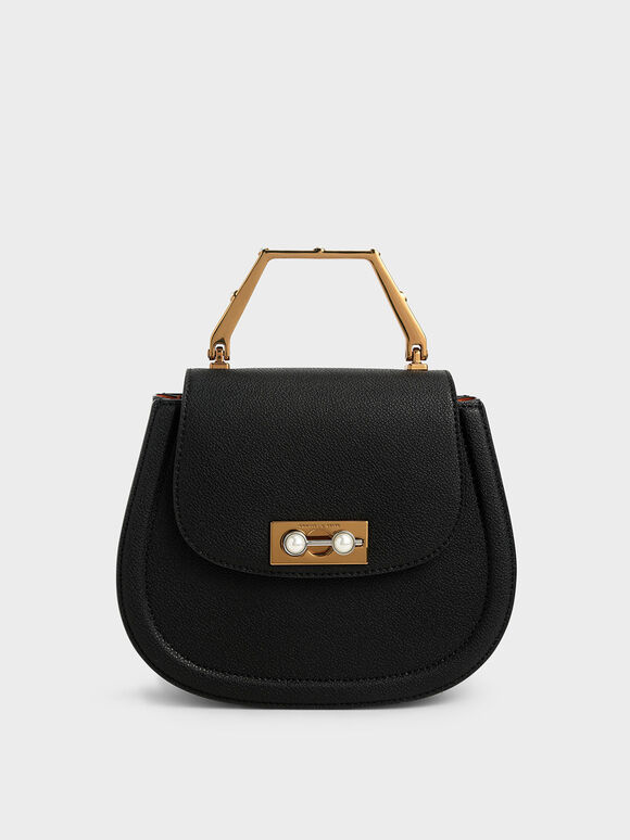 Geometric Top Handle Saddle Bag, Black, hi-res