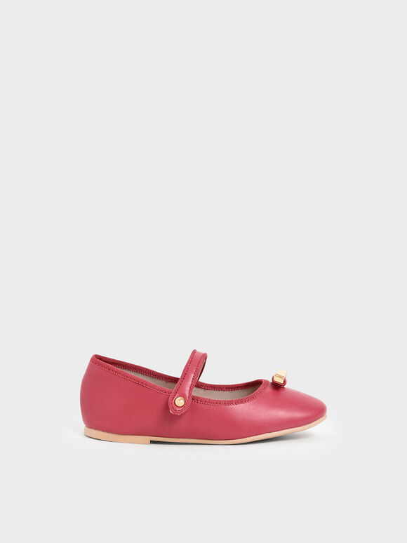 Girls' Metal Bow Mary Jane Flats, Fuchsia, hi-res