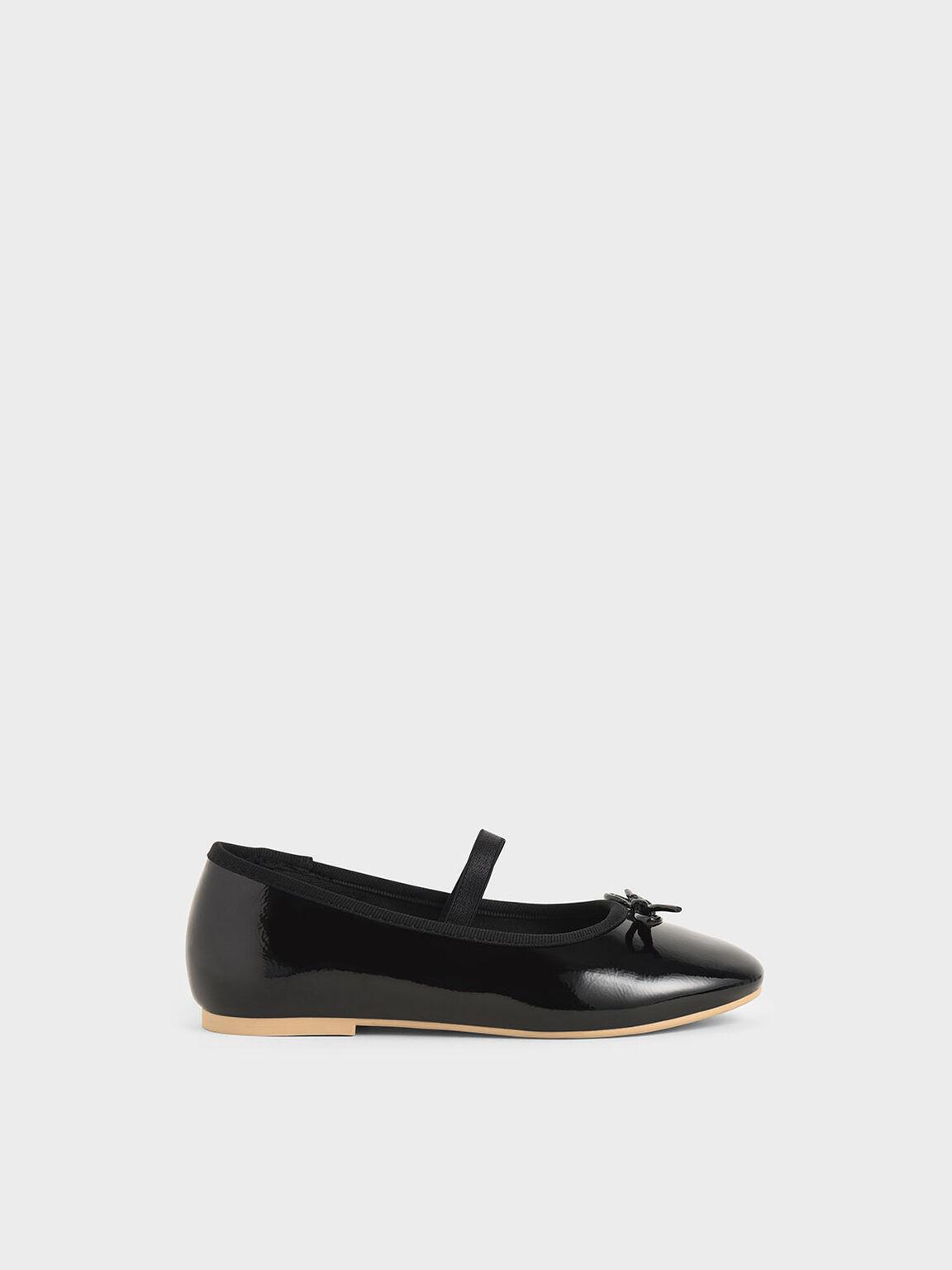 Girls' Patent Bow Ballerina Flats, Black, hi-res
