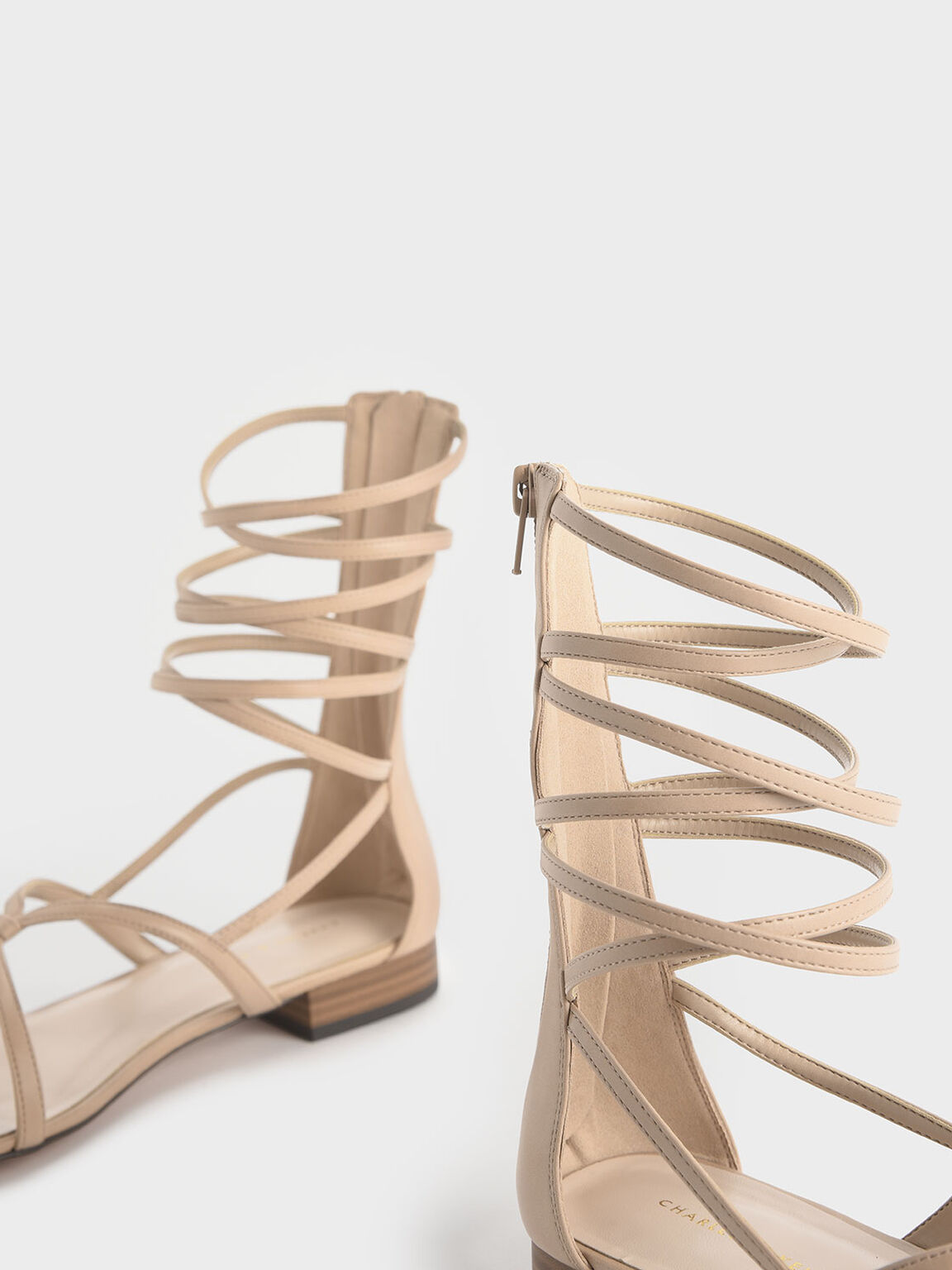 Low Heel Gladiator Sandals, Nude, hi-res
