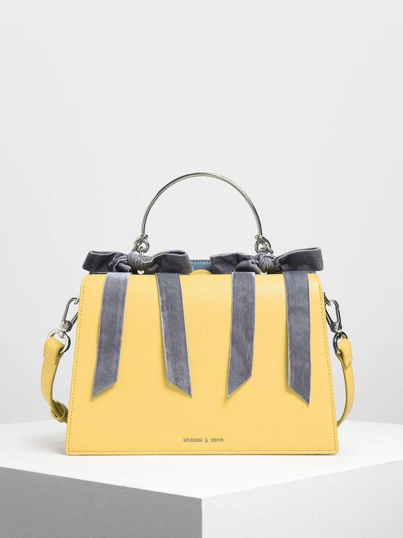 Velvet Bow Detail Top Handle Bag, Yellow, hi-res