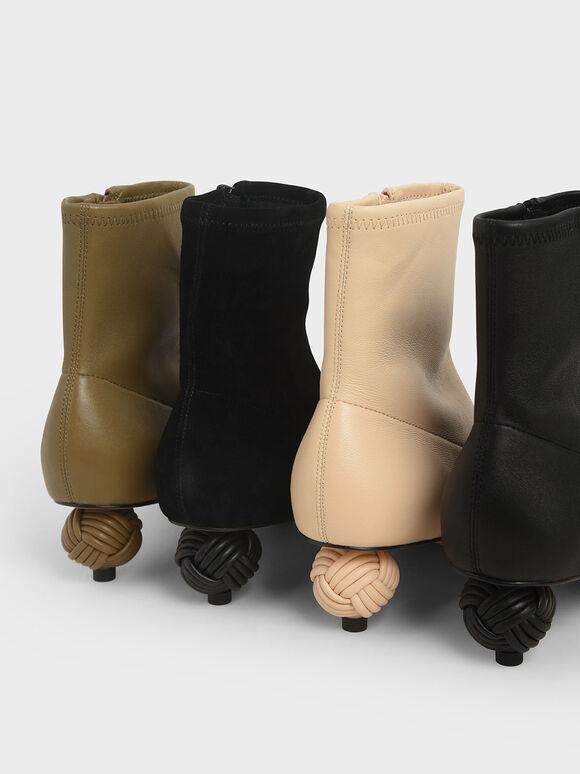 真皮造型跟踝靴, 石灰白, hi-res