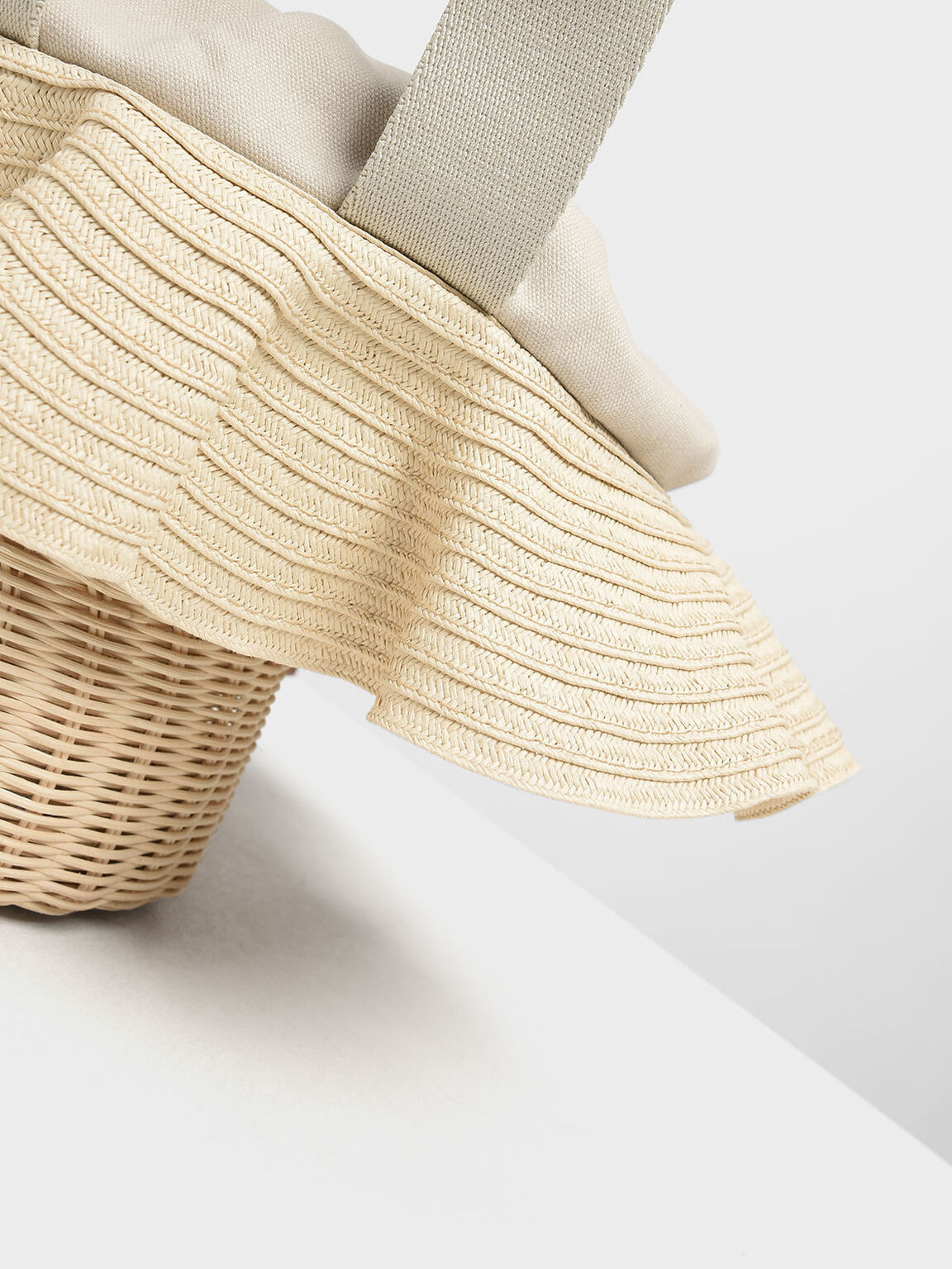 Straw & Rattan Tote Bag, Chalk, hi-res