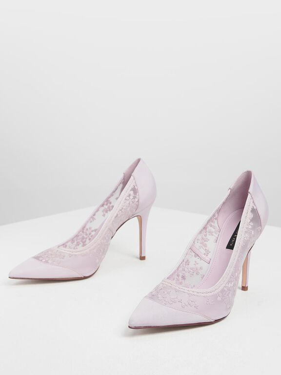 Embroidered Mesh Pointed Pumps, Lilac