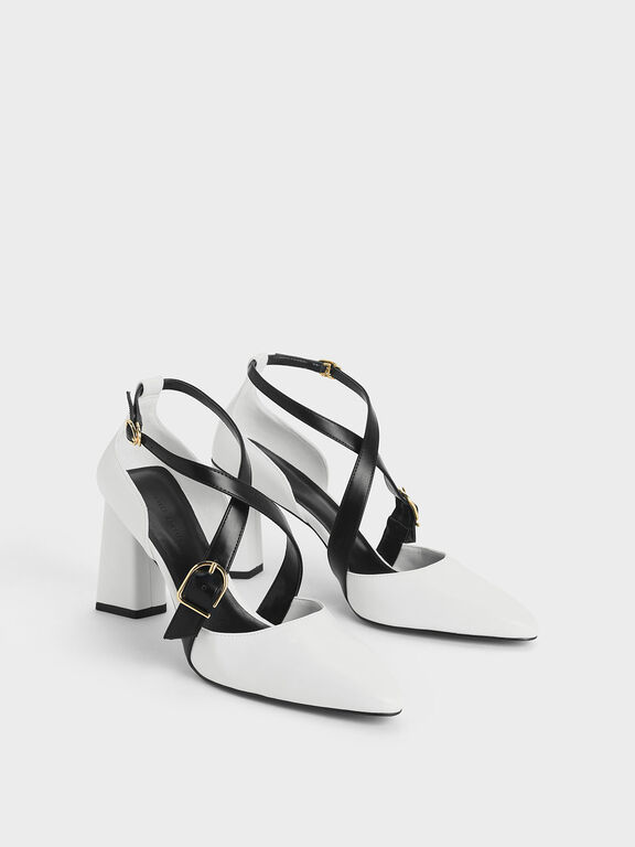 Two-Tone Buckle Detail Criss Cross Block Heel Pumps, White