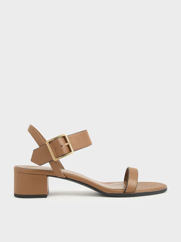 Frame Buckle Block Heel Sandals, Camel, hi-res