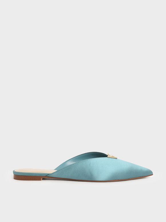 Satin Embellished V-Cut Mules, Turquoise, hi-res