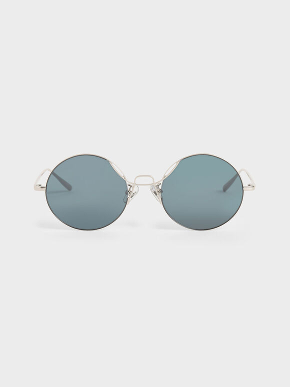 Round Tinted Sunglasses, Silver, hi-res