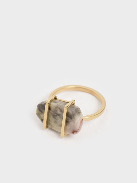 Crazy Agate Stone Ring, Gold, hi-res